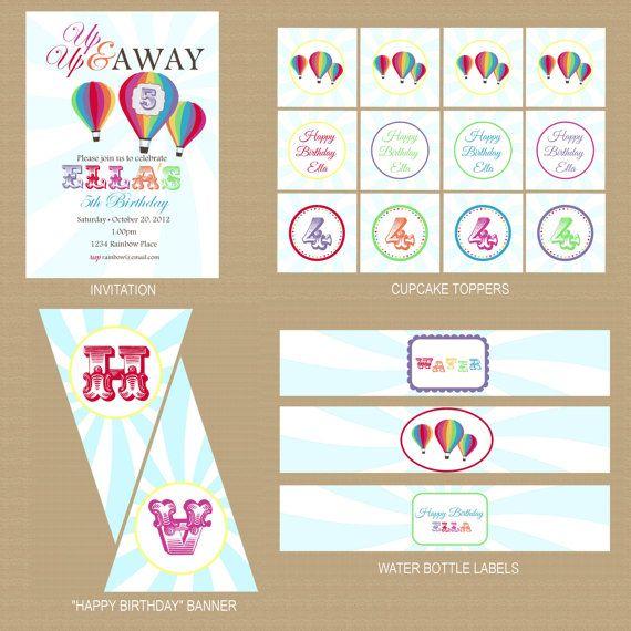 Rainbow Hot Air Balloon Package Printable by GeminiCelebrations, $32.00