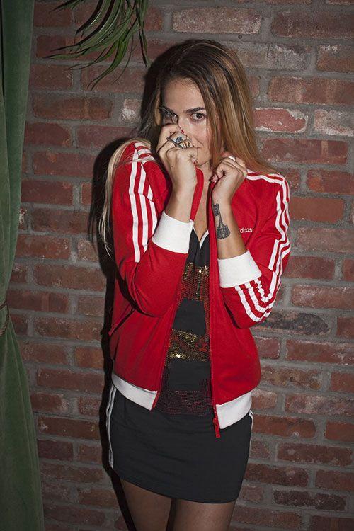 chaqueta adidas roja original mujer