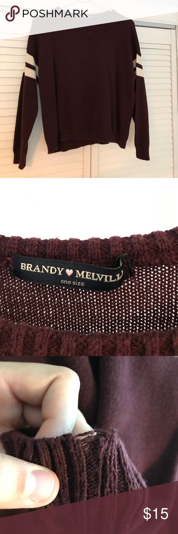 BRANDY MELVILLE SWEATER •maroon sweater w/ white varsity stripes.                           •about 21 inches in length.                                                  •in great condition, small sign of wear on one sleeve (shown in picture). Brandy Melville Sweaters Crew & Scoop Necks