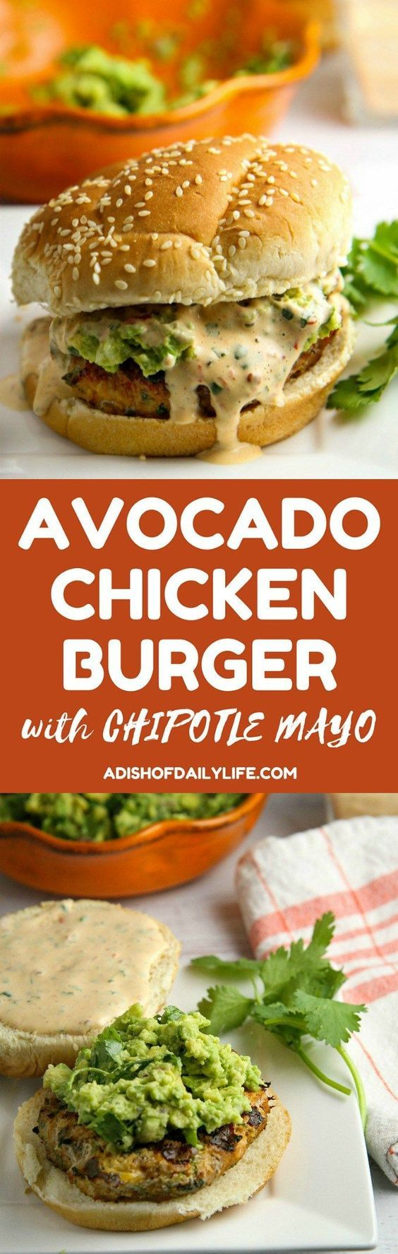 Add a TexMex flair to your next summer BBQ! This Chicken Burger is LOADED with flavor grilled to perfection piled high with smashed avocado and smothered in chipotle mayo...perfect recipe for the grilling season!