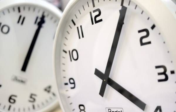 Clocks are pictured at the plant of the Bodet Company on March 26, 2014 in Trementines, western France. Picture JEAN-SEBASTIEN EVRARD AFP.