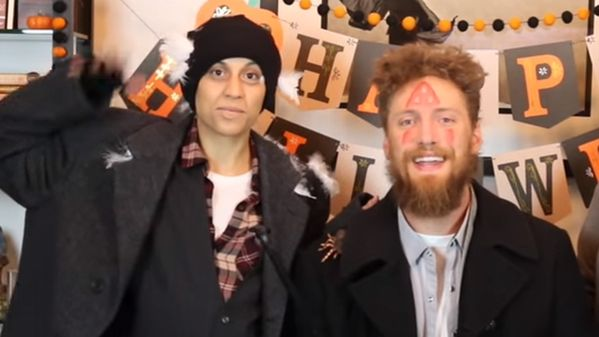 "Happy Halloween, from SF Giants' Hunter Pence and girlfriend Lexi, dressed as the thieves from ""Home Alone."""