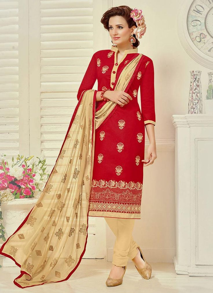 Epitome Red Churidar Suit