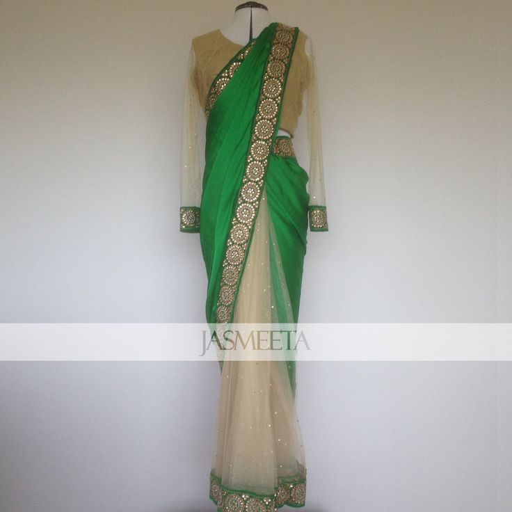Our custom made green and gold saree for a client. Love the crisp green colour!