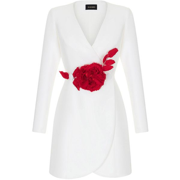 Rasario Tuxedo Jacket Mini Dress With Red Flower (21.744.550 IDR) ❤ liked on Polyvore featuring dresses, white, long sleeve mini dress, short white dresses, white long-sleeve dresses, short dresses and white v neck dress