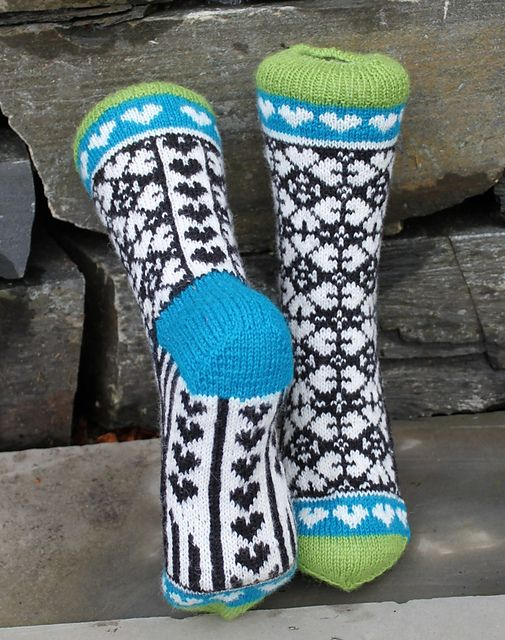 Ravelry: Heart Mix Sock pattern by Aud Bergo