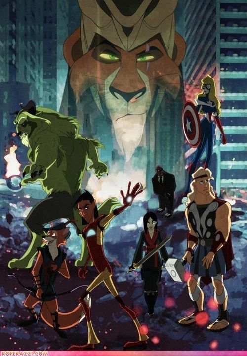 Disney animated heroes as The Avengers