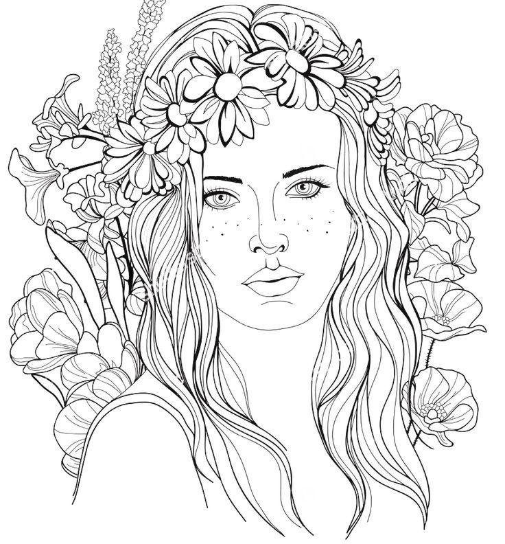 Image Of A Girl With A Floral Wreath In Her Hair Coloring Page
