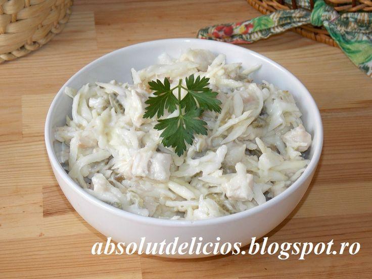 Salata de telina cu pui si maioneza, cum se face salata de telina