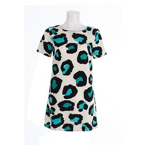 Khloe Turquiose Leopard Print Shift Dress John Zack BUY IT NOW £22 AT www.fuchia.co.uk