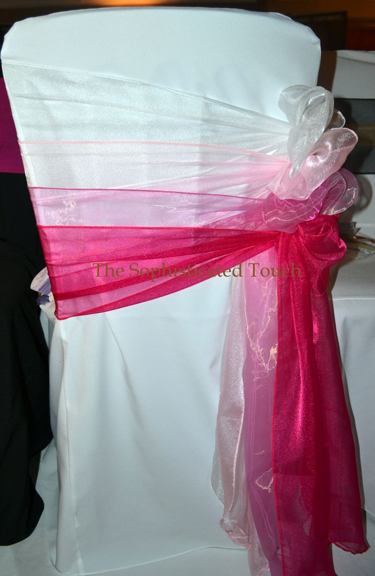 Pink Ombre Organza Bows on White Chair Cover  The Sophisticated Touch ...Chair Covers by Design  www.thesophisticatedtouch.co.uk