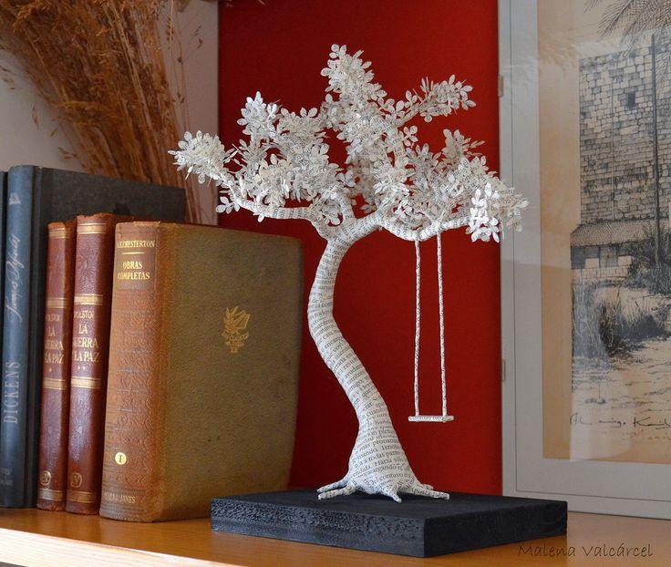 Malena Valcárcel original Art: Escultura de Papel - Arbol con columpio / Paper Sc...