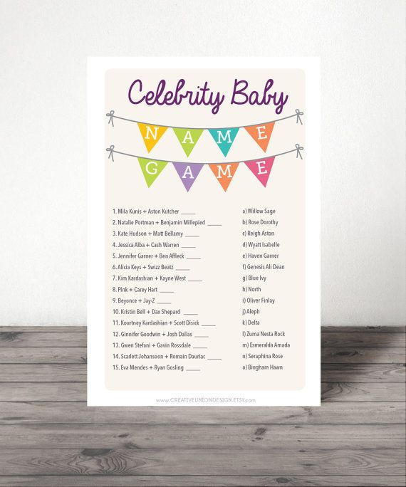 Kick off the fun with this sought-after Celebrity Baby Name game! This game has become one of our top sellers - so you know it will be a huge