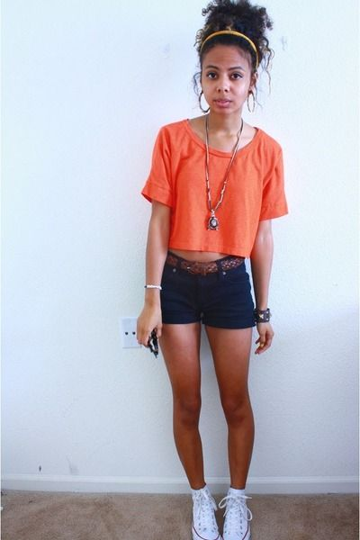 "Carrot Orange Delias Tops, White High Tops Converse Shoes | ""CROPPED ORANGE"" by AlexisSplash"