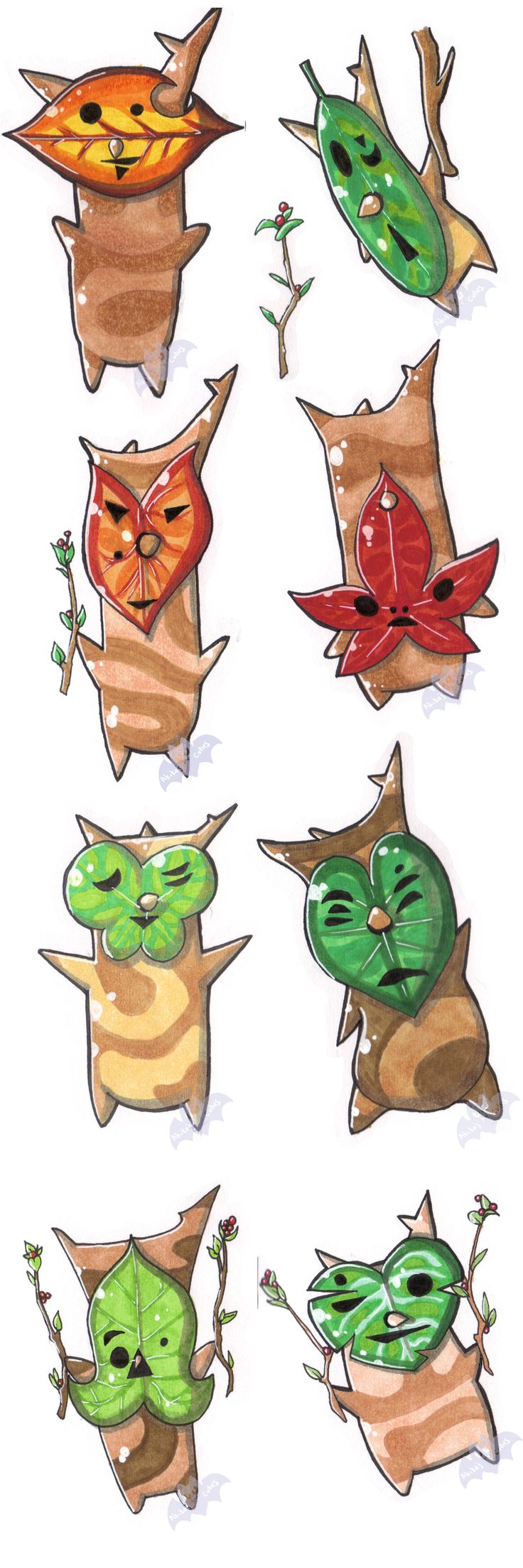 Korok Sketch Dump by AkikoKaido http://www.deviantart.com/art/Korok-Sketchbook-dump-676772600