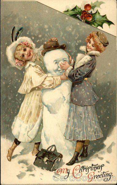 Vintage postcard- Girls with snowman