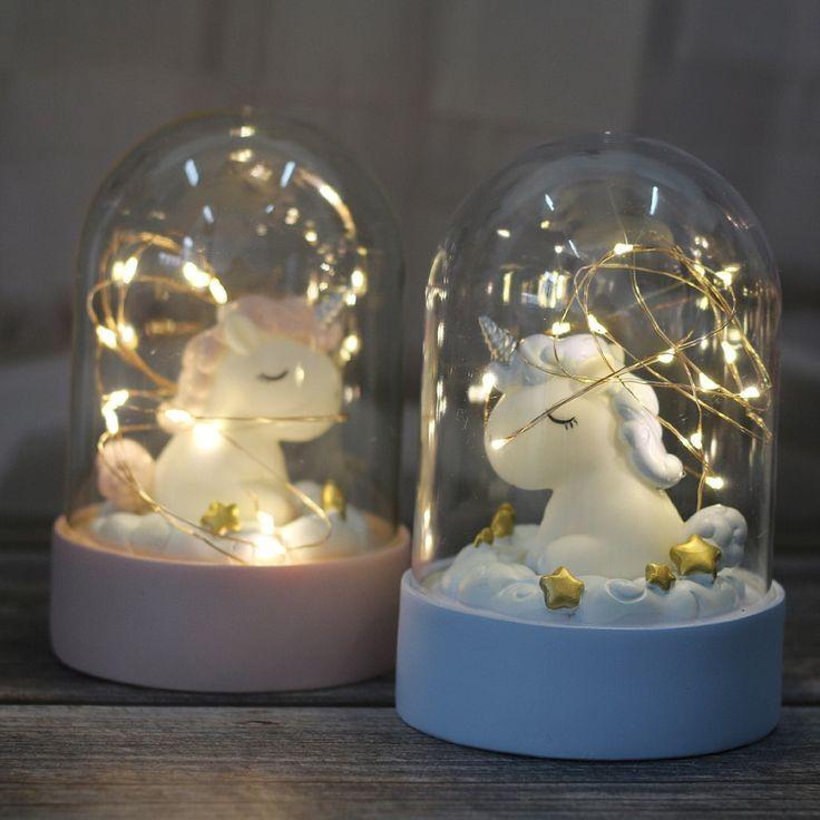 Creative Cartoon Unicorn Led Night Light Novelty Diy Bedroom Battery Decorative Lights Lamp In 2020 Fairy Lights Bedroom Unicorn Room Decor Unicorn Lamp