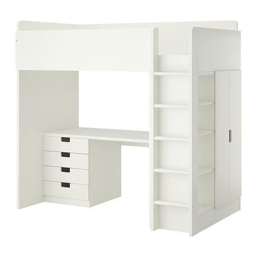 STUVA Loft bed with 4 drawers/2 doors, white white Twin