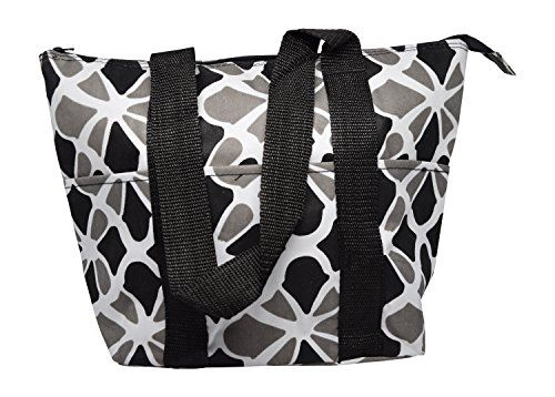 Large Reusable Zippered Top Insulated Lunch Bag BlackGray Flower >>> Want to know more, click on the image.