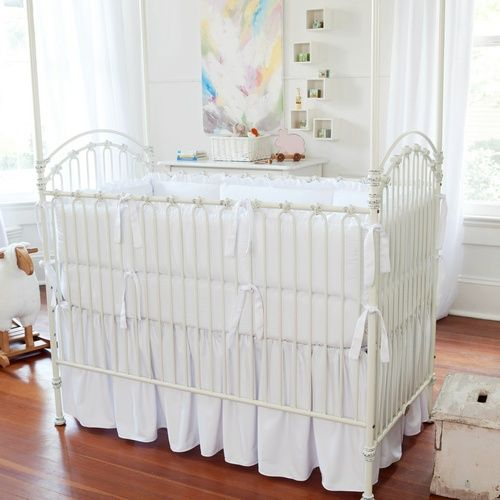 Solid White Crib Skirt Gathered
