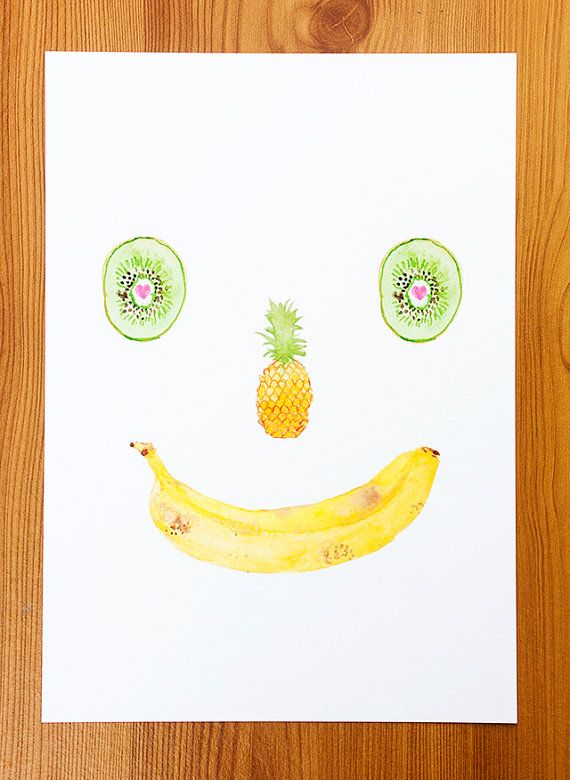 a4 print  smiling fruit  watercolour painting by cardboardcities, £17.00
