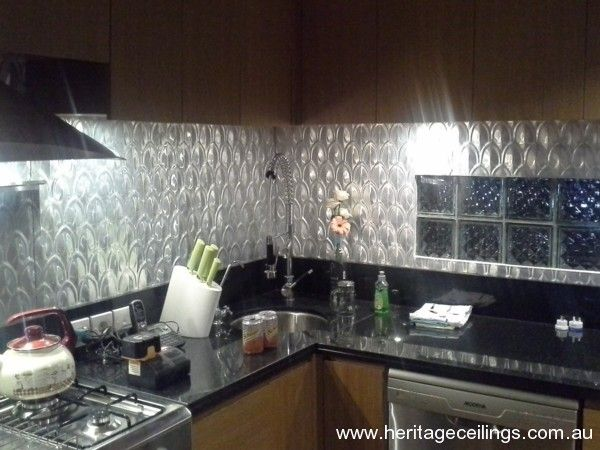 This time the Fishscale panel has been used in its aluminium version on a splash back in Bali.