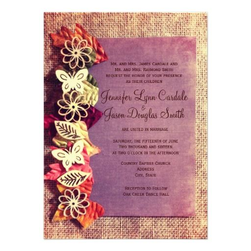 rustic leaves purple fall wedding invitations today price drop and special promotion get the best buydiscount dealslowest price fast shipping and save your - Quick Wedding Invitations