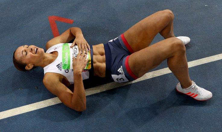 Jessica Ennis-Hill Photos Photos - Jessica Ennis-Hill of Great Britain reacts after the Women's Heptathlon 800m on Day 8 of the Rio 2016 Olympic Games at the Olympic Stadium on August 13, 2016 in Rio de Janeiro, Brazil. - Athletics - Olympics: Day 8 #Rio2016 #リオ五輪 #オリンピック
