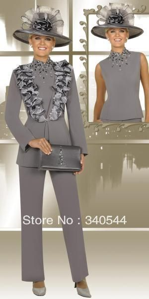 Elegent 3pc Mother of the Bride Pant Suits chiffon silver crysal and applique long sleeves outfit with jacket no cat and bag US $117.00