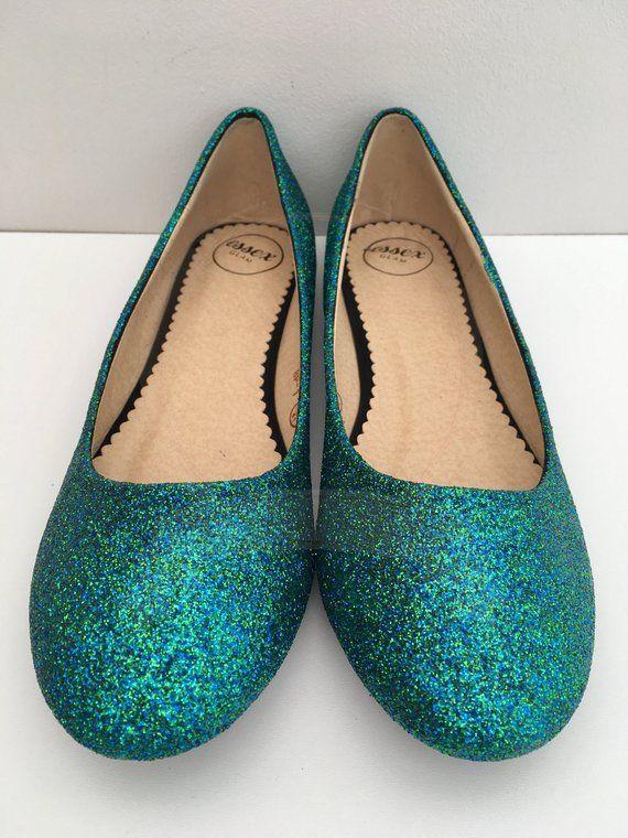 02acca73b52e3 Mermaid Turquoise Glitter Mix Flats Glitter Pumps Ballerina Flats ...