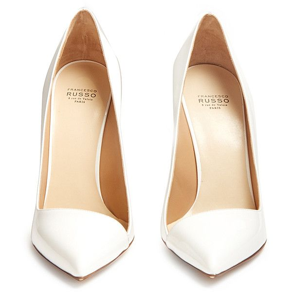 Francesco Russo Point-toe patent-leather pumps (3,285 CNY) ❤ liked on Polyvore featuring shoes, pumps, white stiletto pumps, white patent pumps, black stilettos, black patent pumps and black pointy-toe pumps