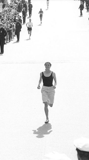Bobbi Gibb, the first woman to run the Boston Marathon in 1966. At that time, women weren't allowed to participate in the marathon and when her application was denied, she snuck in and ran anyway