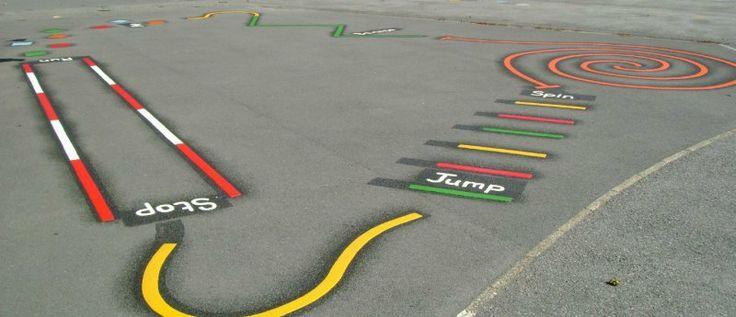 Dibujar marcas e indicaciones de un circuito de aventura en el suelo del patio para que los niños se diviertan