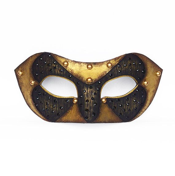 Handpainted Antique Gold Masquerade Mask -  Venetian Mask Decorated With Leather And Beads - Male