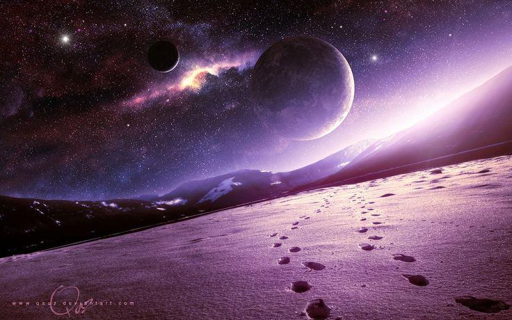 планеты, горы, снег, космос, арт, qauz,