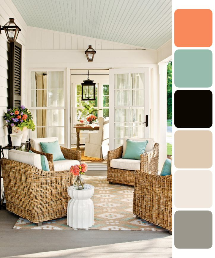 Open airy color scheme for back patio or open front porch. Love the pop of salmon with the blue.  White clean walls with the ceiling in a blue grey... Inviting you to enjoy some Sweet Ice Tea!, blue orange living room