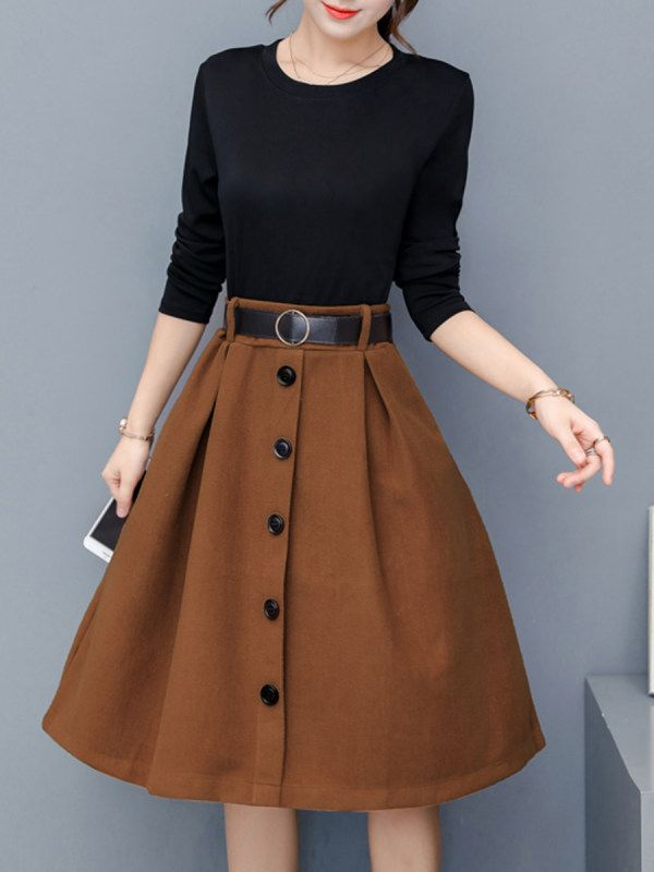 Shop Round Neck  Decorative Buttons  Color Block Skater Dress online with high quality and hurry to get fashion  on Callabuy.com quickly.