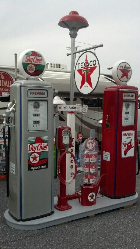 Reproduction Texaco Gas Pump Island - Nicely Done!