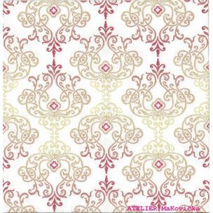 Wencke pink luxusné svadobné  servítky z netkanej textílie, ornament ružová, zlatá, bordová rozmer 40x40