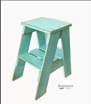 FREE SHIPPING / Rustic Wood Step Stool Shabby Chic Furniture / Bedroom Side Table / Cottage Farmhouse / Bohemian Decor / Green Blue Teal by RiversideStudioON on Etsy https://www.etsy.com/ca/listing/252605424/free-shipping-rustic-wood-step-stool
