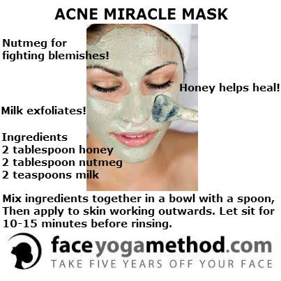 ACNE MIRACLE MASK... I did 1 tbs honey 1 tbs nutmeg 1 tsp milk and about 1 1/4 tsp cinnamon and had more than enough to cover my face. btw it's not green haha