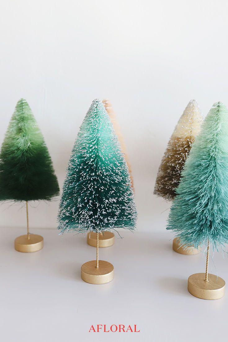 Mini Bottle Brush Christmas Tree Decor Tabletop Christmas Tree Christmas Tree Decorations Christmas Mantle Decor
