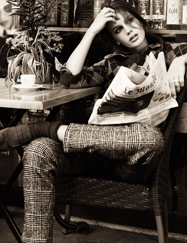 Marine Vacth reading Le Monde in Paris. Elle France (November 2011). La Fresh French. Photograph by David Burton.
