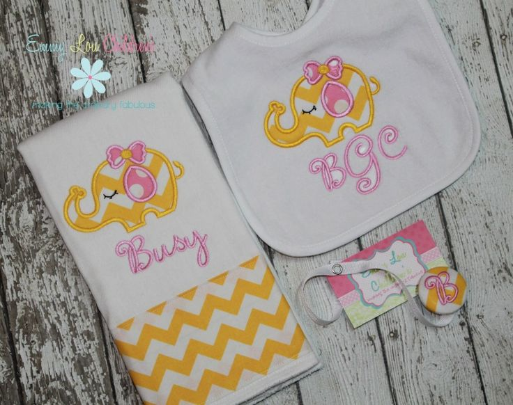 127 best emmy lou baby gifts images on pinterest baby gifts personalized baby gift set personalized burp cloth pacifier clip and bib negle Images