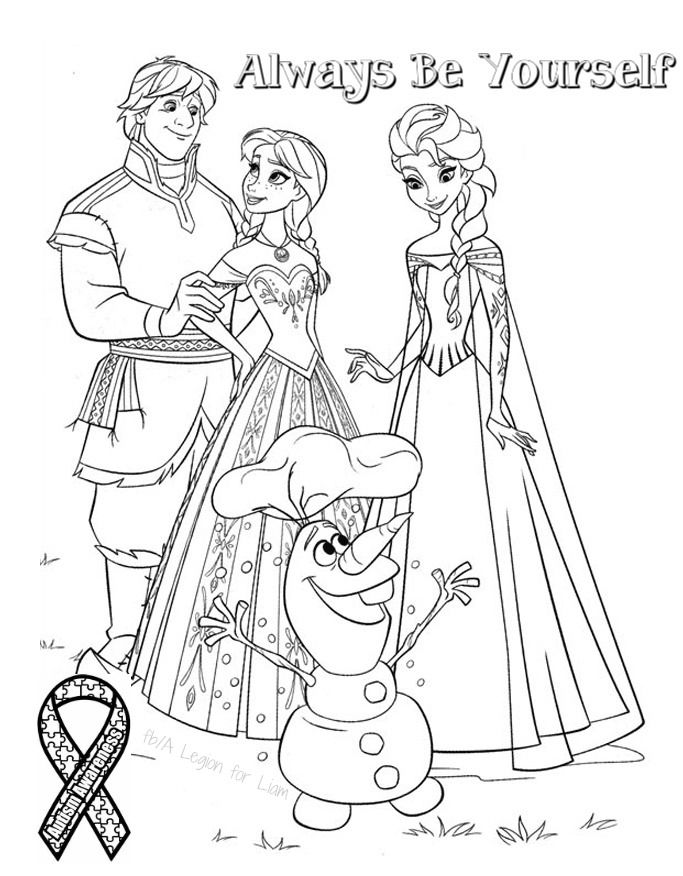Frozen autism coloring page by
