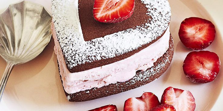 Recipe for Heart Shaped Chocolate and Strawberry Ice Cream Sandwiches