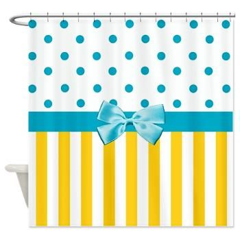 Oh So Girly TK Designs Yellow Stripes Blue Ribbon Shower Curtain A Trendy And Fun Pattern With Lemon Polka Dots Wrapped
