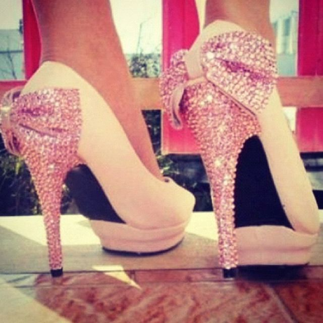 adorable heels - for a wedding or just a night out! lovin' the bling :): Fashion, Style, Pink Bows, Shoes 3, High Heels, Sparkle, Pretty, Shoes Shoes