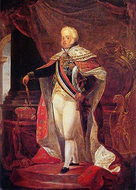 Dom João VI nos trajes de sua aclamação, pintura de Debret.
