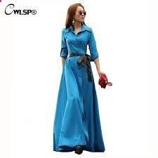 Bohemian Maxi Dress OL Work Wear Floor Length Vestidos A-line Turn Down Collar Long Sleeve Long Dress With Sashes